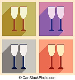Set flat icons with long shadow glasses of champagne
