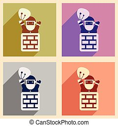 Set flat icons with long shadow Santa Claus in chimney