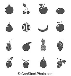 Fruits and berries, vector icons set - Fruits and berries -...