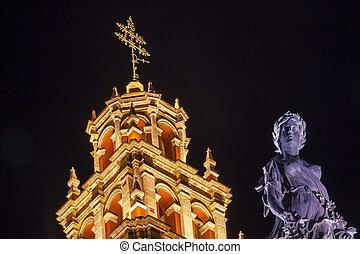 Paz Peace Statue Our Lady Basilica Night Guanajuato Mexico