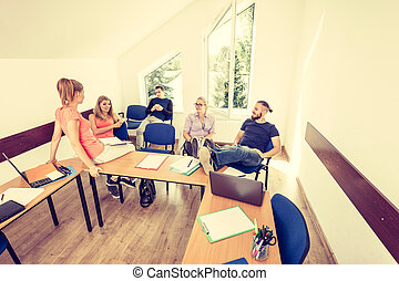 students in classroom during the break