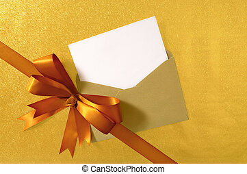 Christmas or birthday card with diagonal gift ribbon and bow...