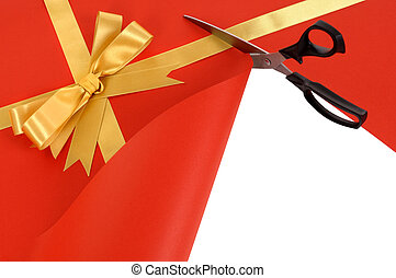 Gift being cut open with scissors - Scissors cutting open...