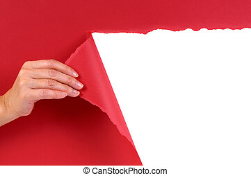 Hand tearing red paper background - Hand tearing red paper...