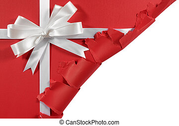 Christmas or birthday white satin gift ribbon and bow on red...