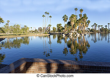 Encanto Park Lake, Phoenix downtown, AZ - Bright blue winter...
