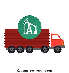 red cargo truck vehicle with oil rig tower icon over green...