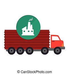 red cargo truck vehicle with factory building icon over...