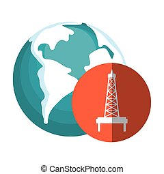 earth planet and petroleum icon