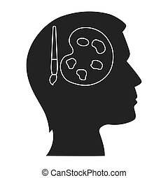 human head profile with art palette icon inside. silhouette...