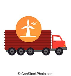 red cargo truck vehicle with eolic wind icon over orange...