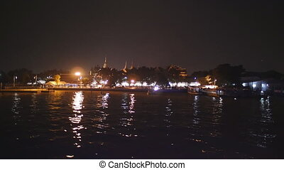 Night view of Bangkok from Chao Phraya river - Bangkok,...