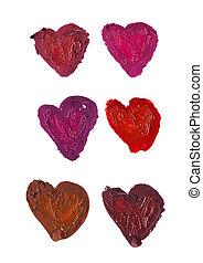 smashed heart shaped - smashed heart shape isolated on white...