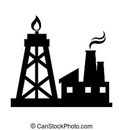 oil rig tower and factory building. silhouette vector...