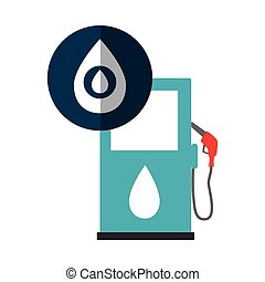 oil station pump with drop icon over blue circle. vector...