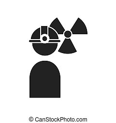 avatar industrial worker user with helmet and nuclear icon....