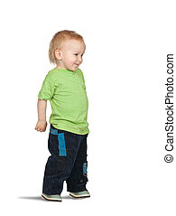 2 years old boy - Isolated full length view of 2 years old...