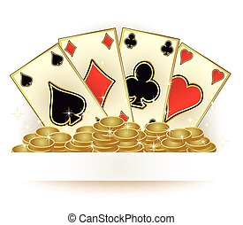 Casino poker cards and golden coins, vector illustration