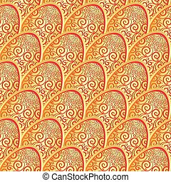 Seamless pattern with golden lacy Easter egg