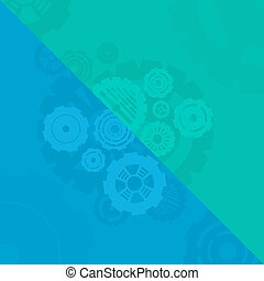 blue and green gears background