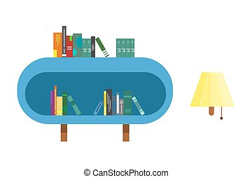 book shelf with books and wall lamp