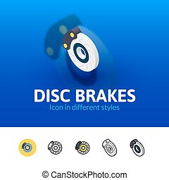 Disc brakes icon in different style - Disc brakes color...