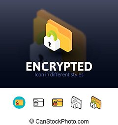 Encrypted icon in different style - Encrypted color icon,...