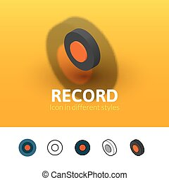 Record icon in different style - Record color icon, vector...