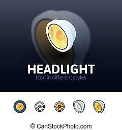 Headlight icon in different style - Headlight color icon,...