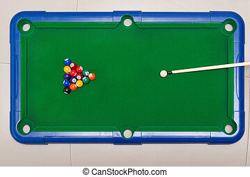 top view small snooker toy set for children