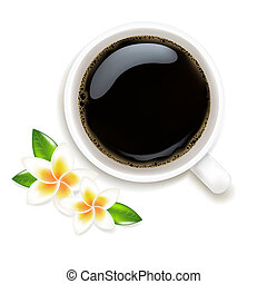 Cup Of Coffee Vector Illustration With Frangipani
