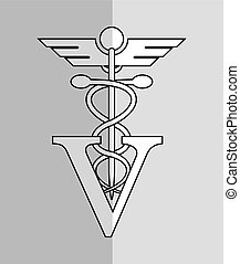 veterinarian related icons image - rod of asclepius with...