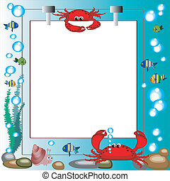 Sea frame with marine animals, white background,vector
