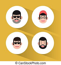 four faces of men icons image