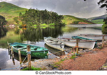rowing boats at side of lake/loch 2 - rowing boats tied up...