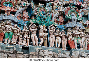 architecture details in a hindu temple