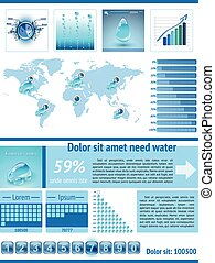 Save Water infographics. Information Graphics.