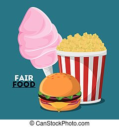 fair food snack carnival icon - cotton candy hamburger pop...