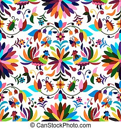 Otomi Style Seamless Pattern - Vector Seamless Mexican Otomi...