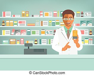 Pharmacist black man with medicine in pharmacy