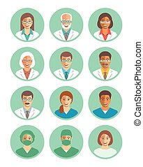 Doctors and medical workers flat simple avatars - Hospital...