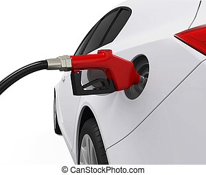 Car Refueling at Gas Station isolated on white background 3D...