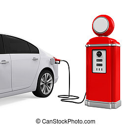 Car Refueling at Gas Station isolated on white background....