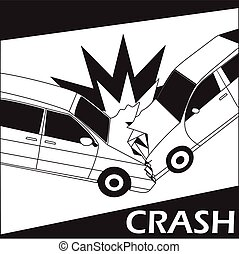 Car crash with comic stripe line. banner concept - vector...