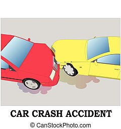 Color car crash. Two cars hit head-on. vector design.