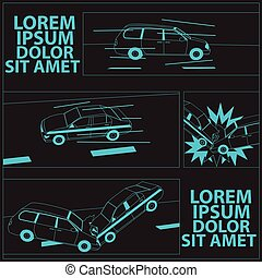 Car crash with comic table. drive concept - vector...