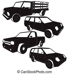 Vector Pickup Truck silhouette icons