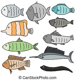 vector set of fish