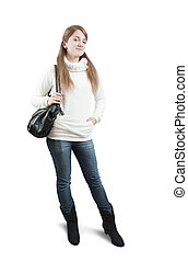 teen girl in sweater with bag over white - Isolated full...