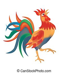 Image of a colorful, bright red cock come on a white background. Isolate illustration